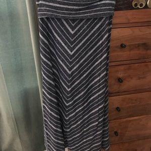 Blue striped maxi skirt